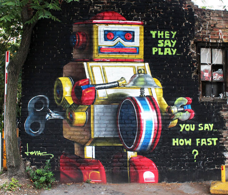 Daily robot Error streetart by Lonac Art