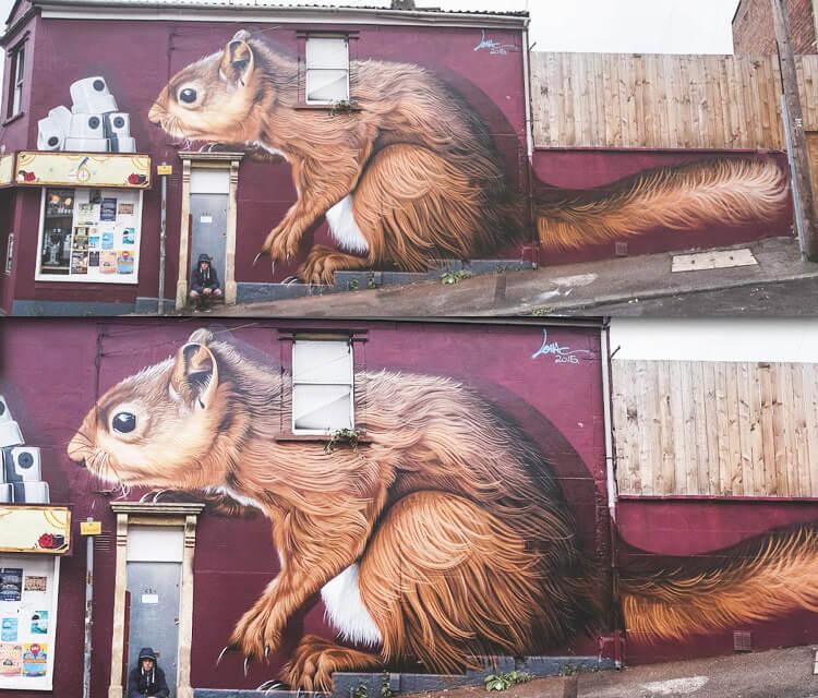 Skinny Cap Thief streetart by Lonac Art