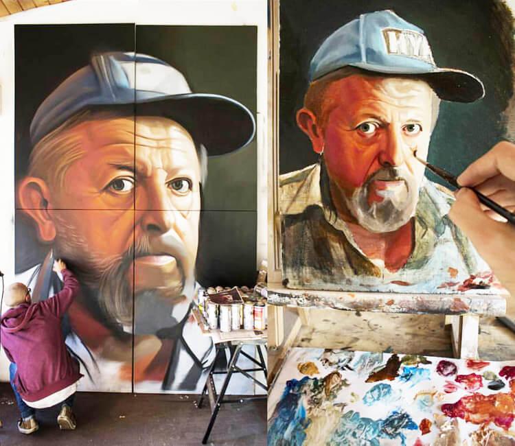 Spray vs Oil painting by Lonac Art