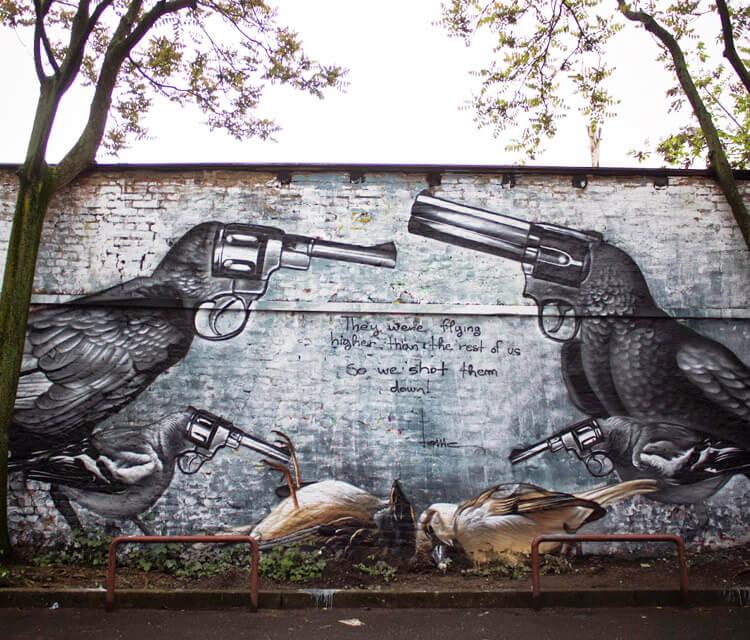 They were flying streetart by Lonac Art