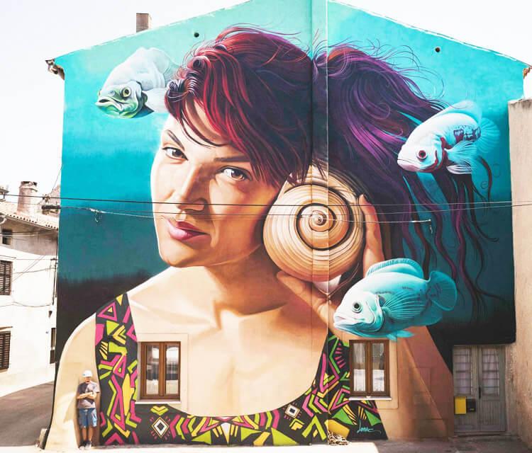 White Noise streetart by Lonac Art
