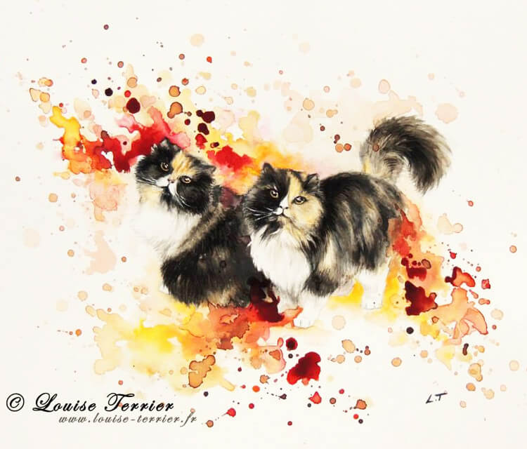 Cat painting by Louise Terrier