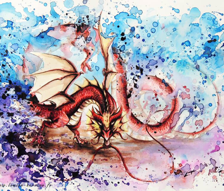 Dragon watercolor painting by Louise Terrier