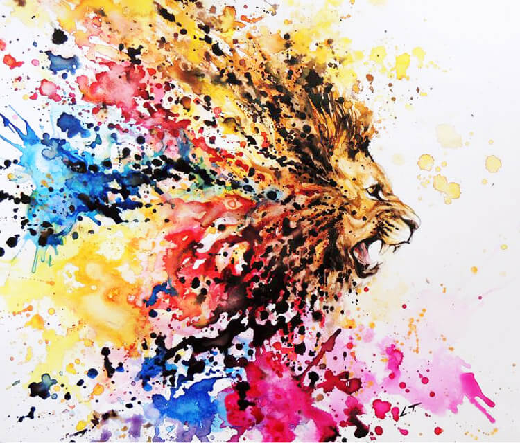 Lion painting by Louise Terrier