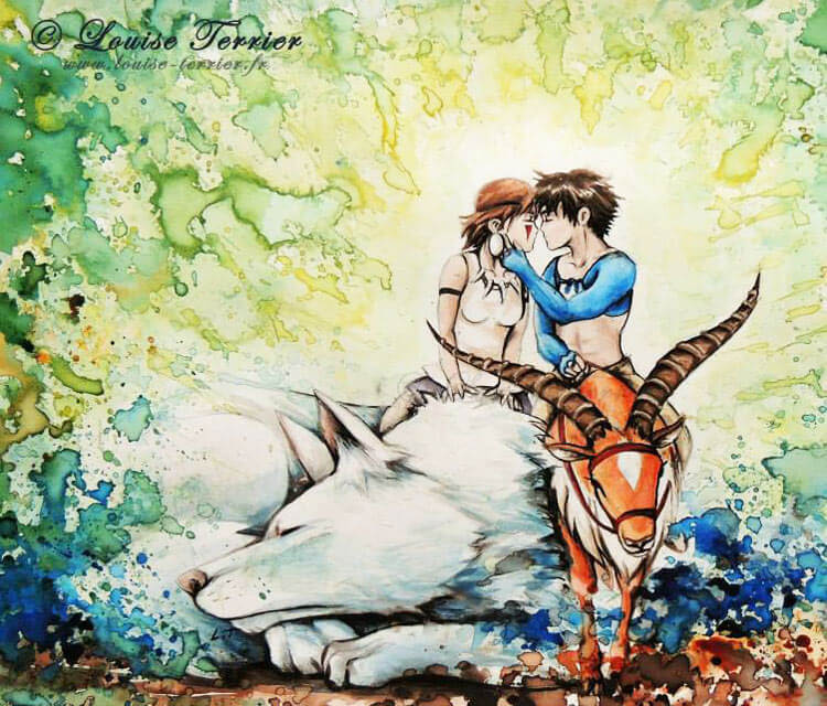 Princess Mononoke Ashitaka And San By Louise Terrier No 1527