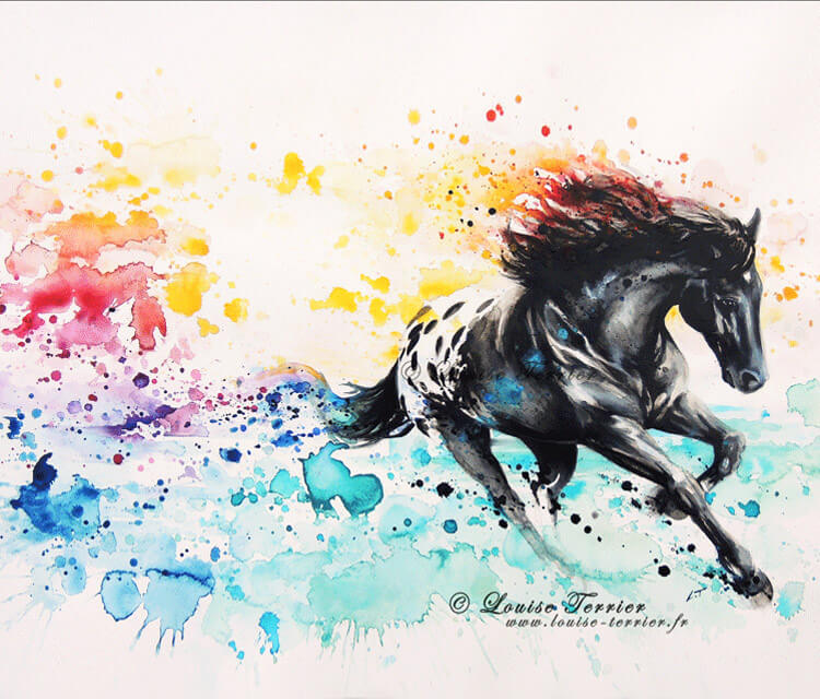 Tropical wild horse mixedmedia by Louise Terrier