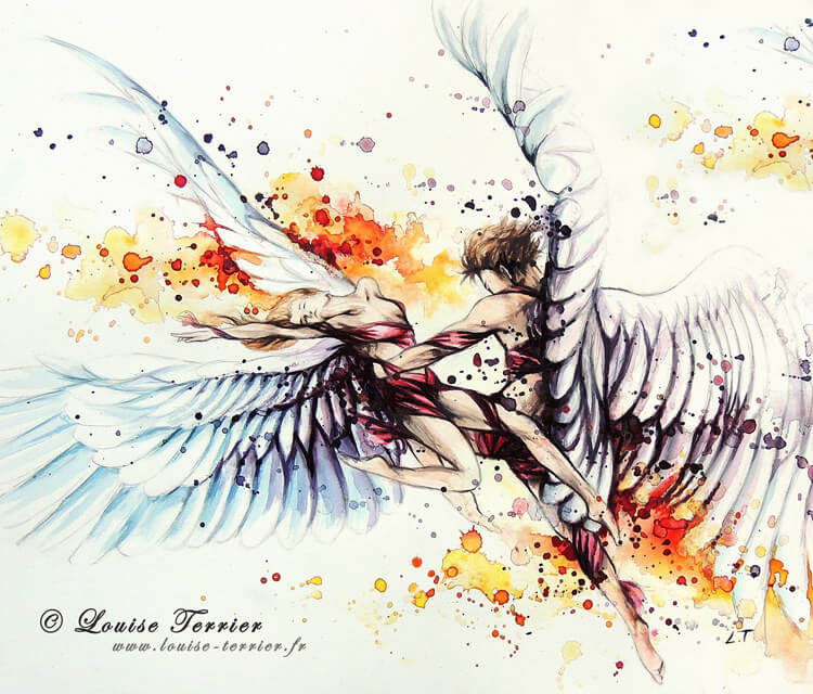 Angels watercolor painting by Louise Terrier