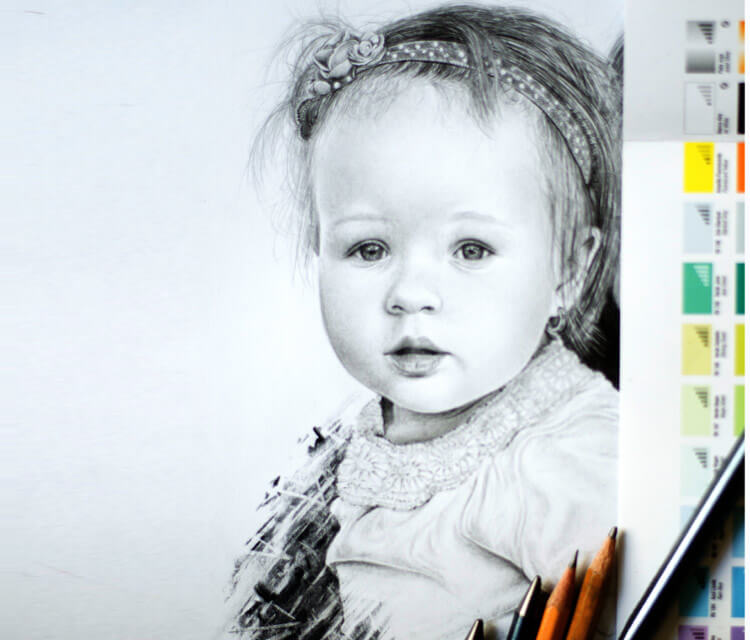 Child portrait drawing by Lukas Lukero Art
