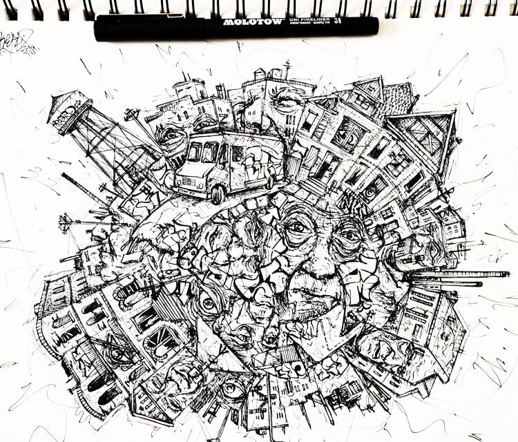 Circle ghetto pen drawing by Lukas Lukero Art