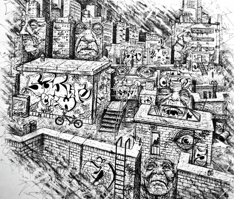 Ghetto Town Faces drawing by Lukas Lukero Art