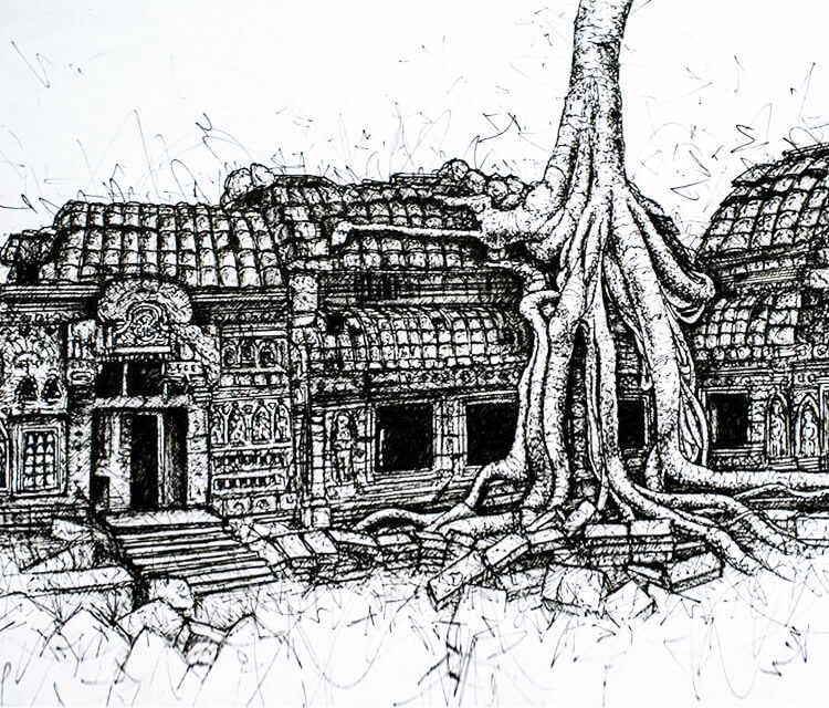 House tree pen drawing by Lukas Lukero Art