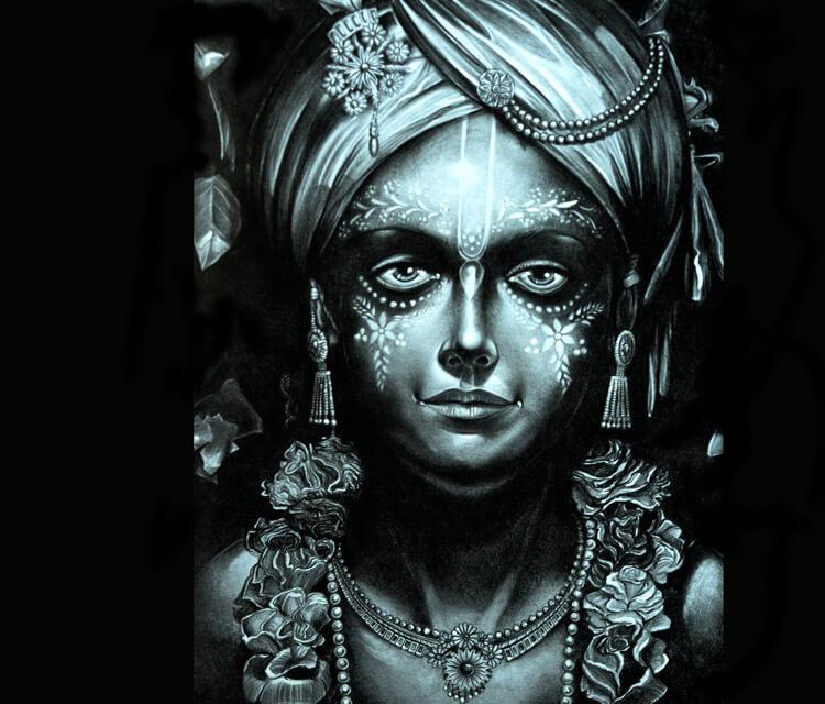 Krishna drawing by Lukas Lukero Art