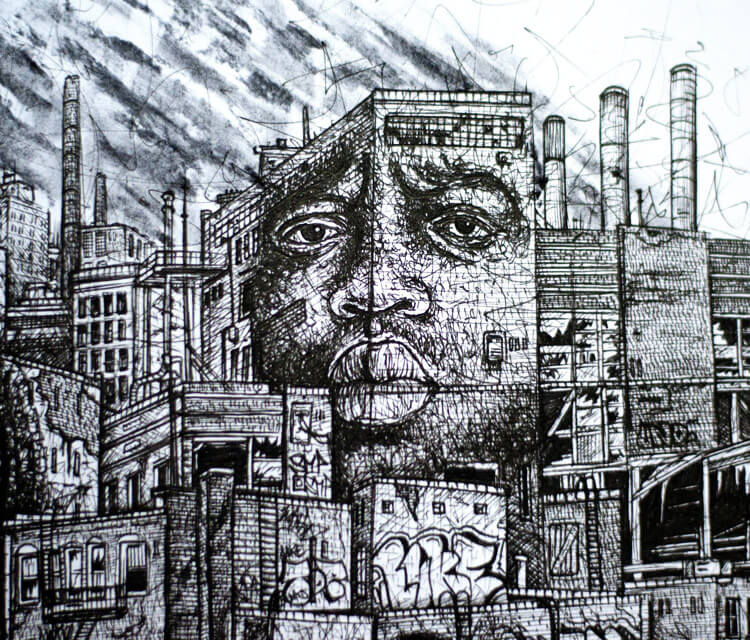 Notorious B.I.G. sketch drawing by Lukas Lukero Art