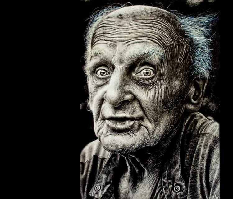 Old man portrait drawing by Lukas Lukero Art