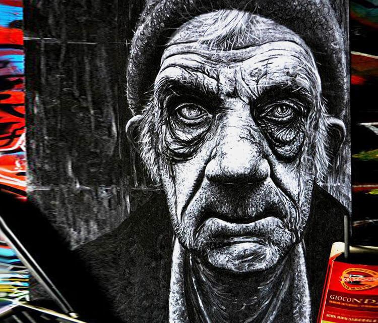 Old man portrait2 drybrush by Lukas Lukero Art