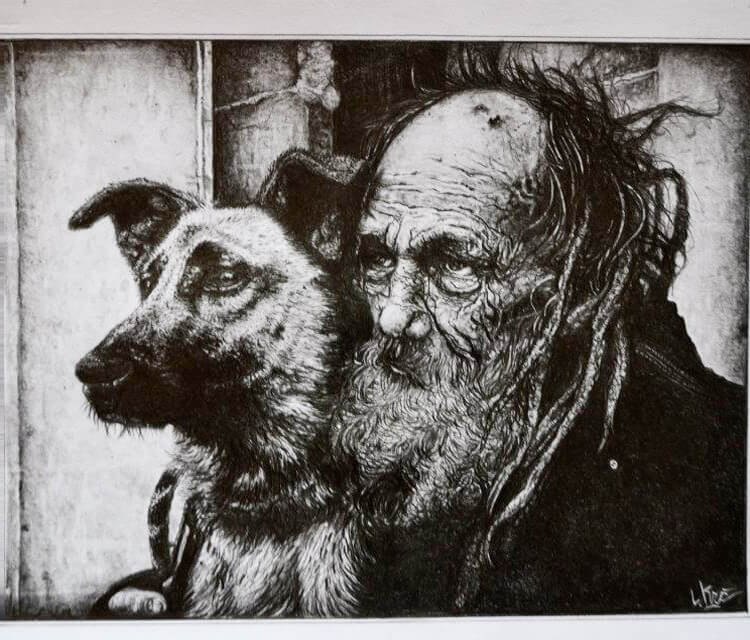 Old man with dog by Lukas Lukero Art