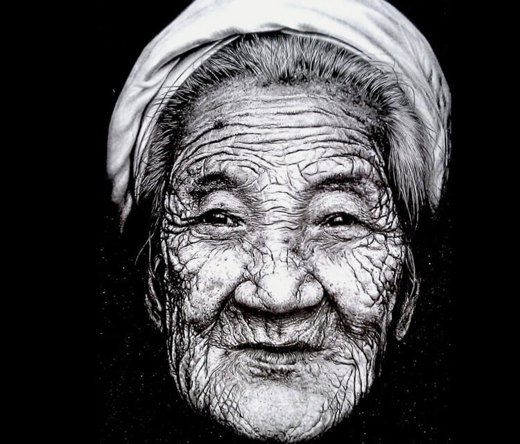 Old woman drawing by Lukas Lukero Art