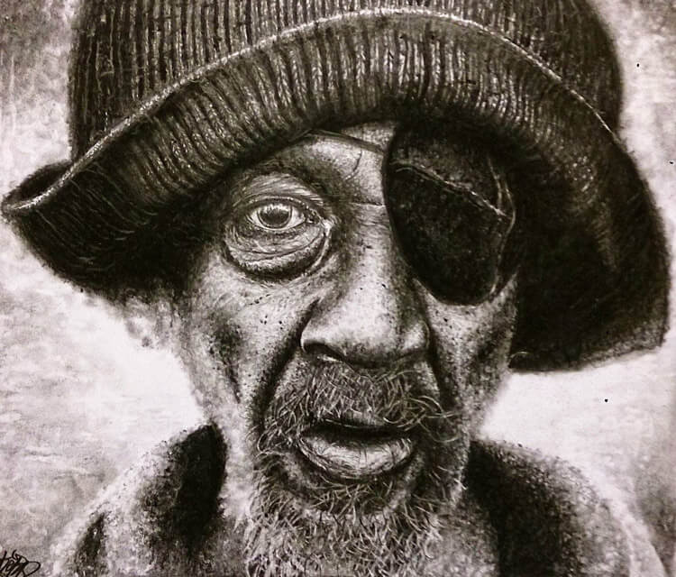 One eyed man drawing by Lukas Lukero Art