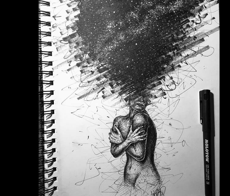 Open your mind marker drawing by Lukas Lukero Art