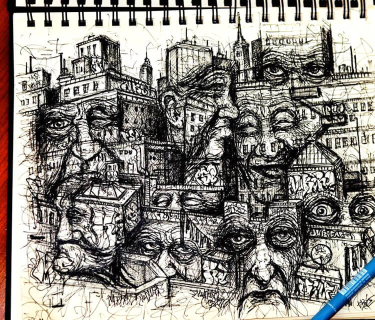 Town Faces marker drawing by Lukas Lukero Art