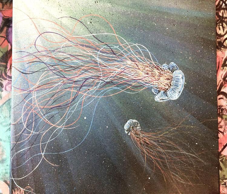 Two Jellyfish painting by Lukas Lukero Art