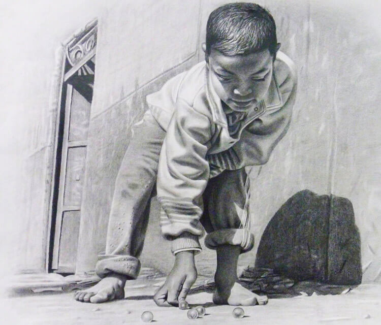 Child with beads drawing by Mahmoud Madane