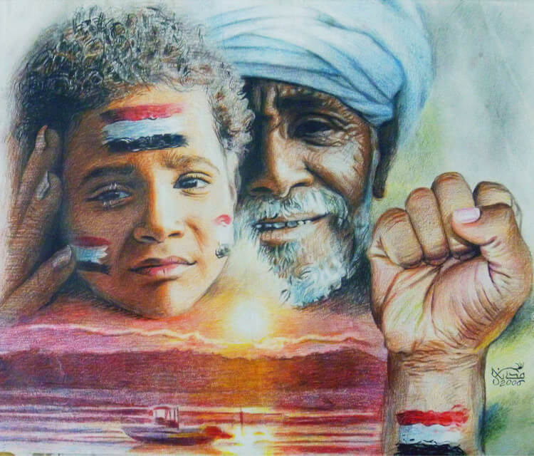 Egypt color drawing by Mahmoud Madane