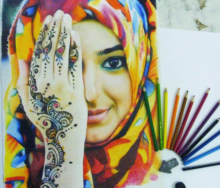 Henna girl color drawing by Mahmoud Madane