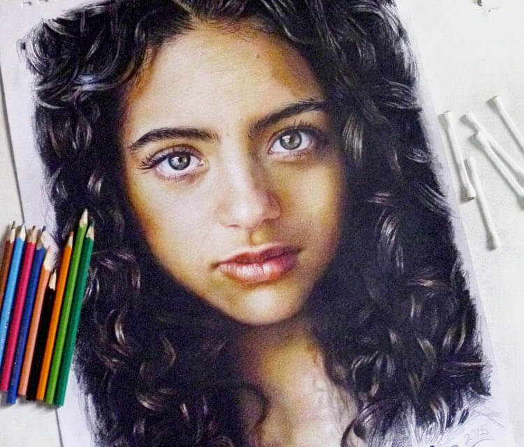 Portrait girl color drawing by Mahmoud Madane