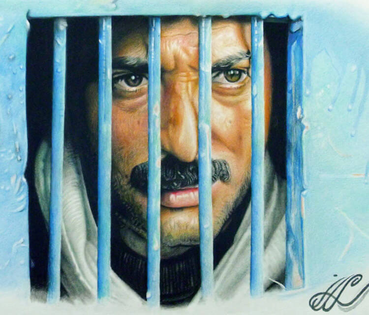 Prison in my heart color drawing by Mahmoud Madane