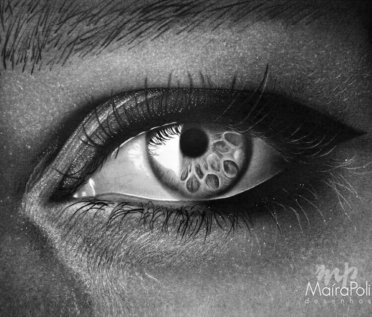 Black eye 1 drawing by Maira Poli