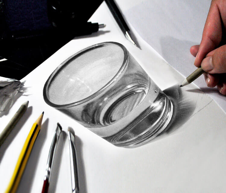 Glass of water drawing by Maira Poli