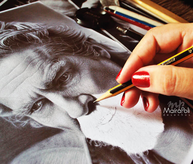 Man portrait drawing by Maira Poli