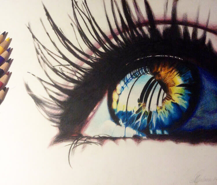 Polychromos eye drawing by Miriam Galassi