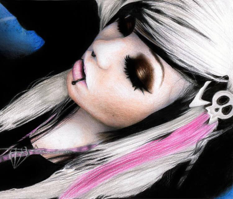 Portrait drawing of Hannie Dropkick by Miriam Galassi