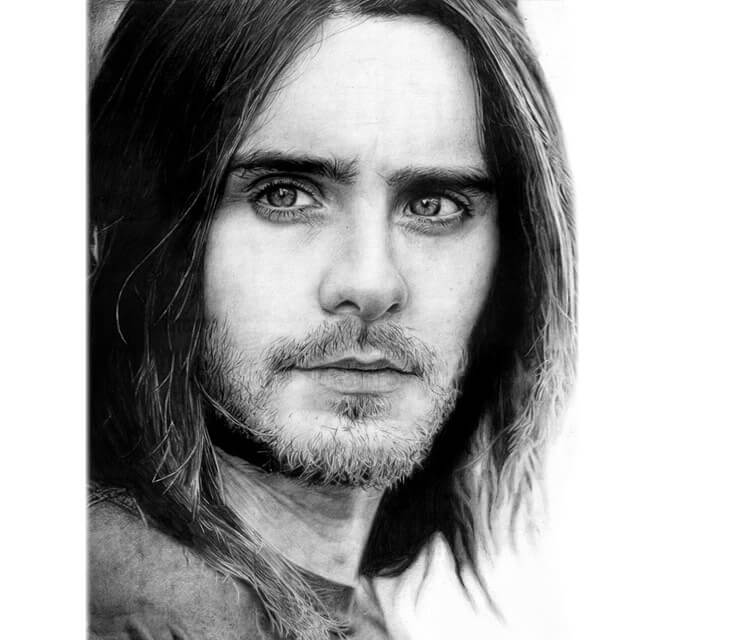 Jared Leto drawing portrait by Miriam Galassi