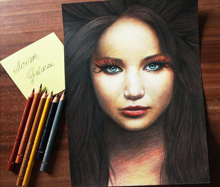 Drawing portrait of Jennifer Lawrence by Miriam Galassi