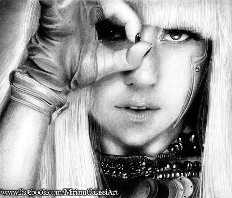 Portrait drawing of Lady Gaga by Miriam Galassi