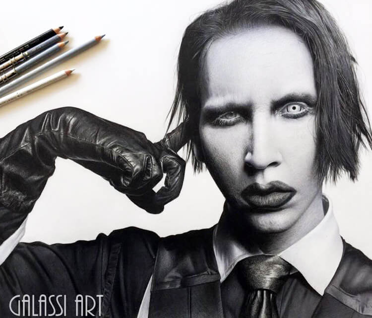 Marilyn Manson drawing by Miriam Galassi