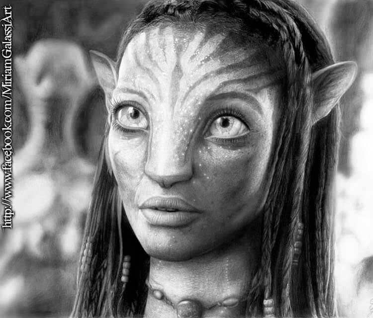 Portreit drawing of Neytiri by Miriam Galassi