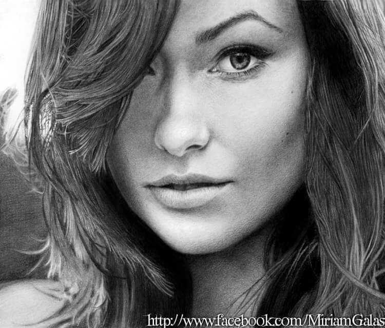 Portrait drawing of Olivia Wilde by Miriam Galassi