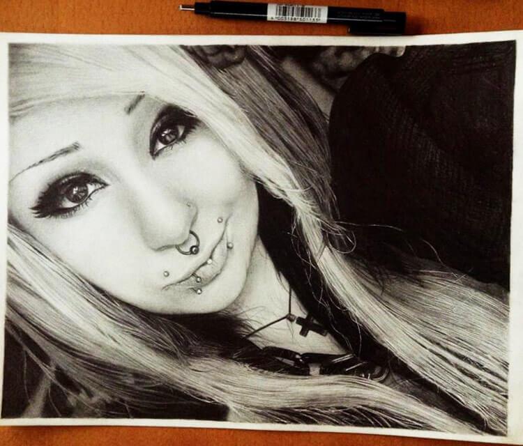 Drawing portrait by Miriam Galassi