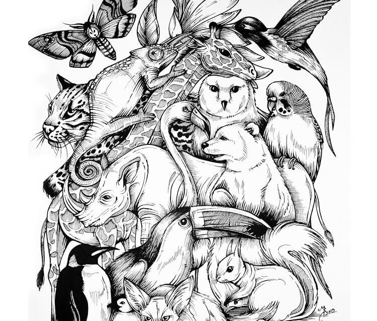 Animal kingdom drawing by Mirik Bodliak