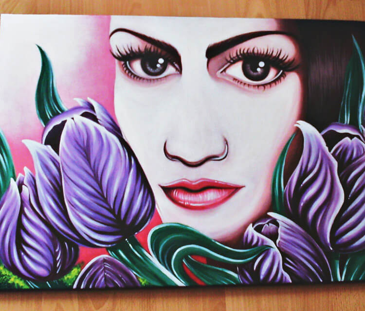 Female flowers painting by Mirik Bodliak