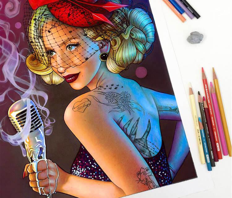 Lady Gaga illustrations color drawing by Morgan Davidson