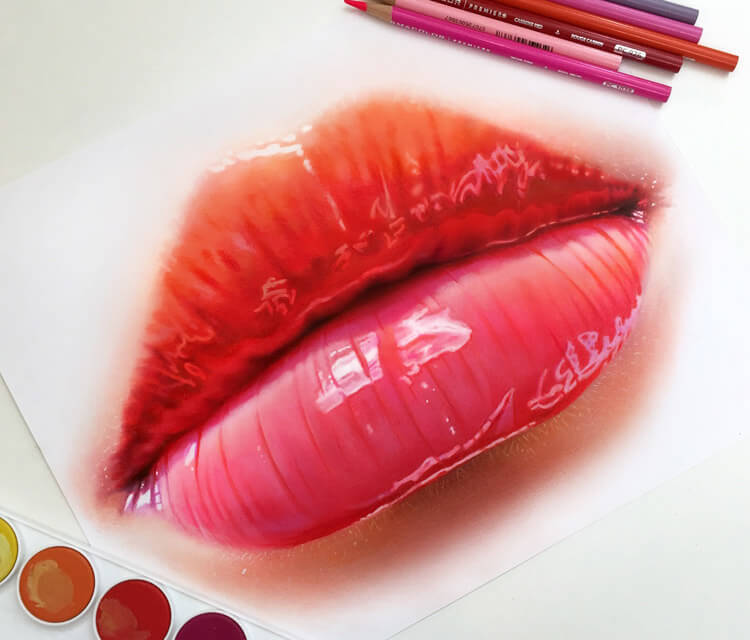 Realistic lips drawing by Morgan Davidson
