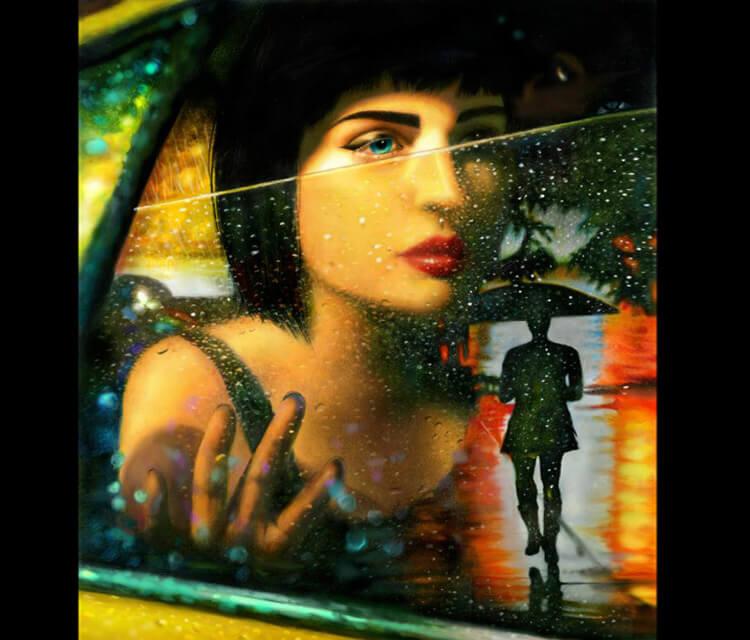 Woman in Rain drawing by Morgan Davidson