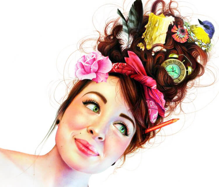 Color portrait woman drawing by Morgan Davidson