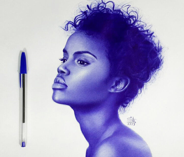 African model pen drawing by Mostafa Mosad Khodeir