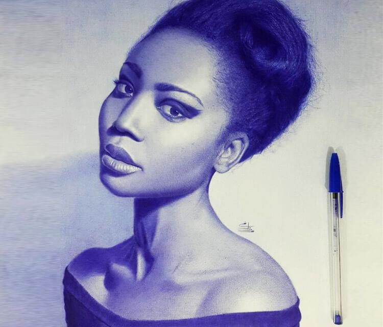 African woman pen drawing by Mostafa Khodeir